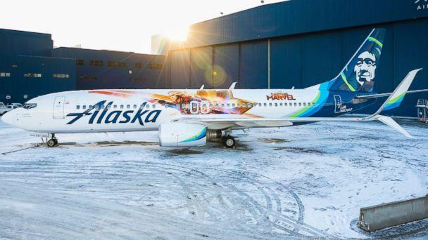 PHOTO: Alaska Airlines has unveiled a special-edition plane featuring Marvel Studios' first female super hero lead, Captain Marvel. (Alaska Airlines)