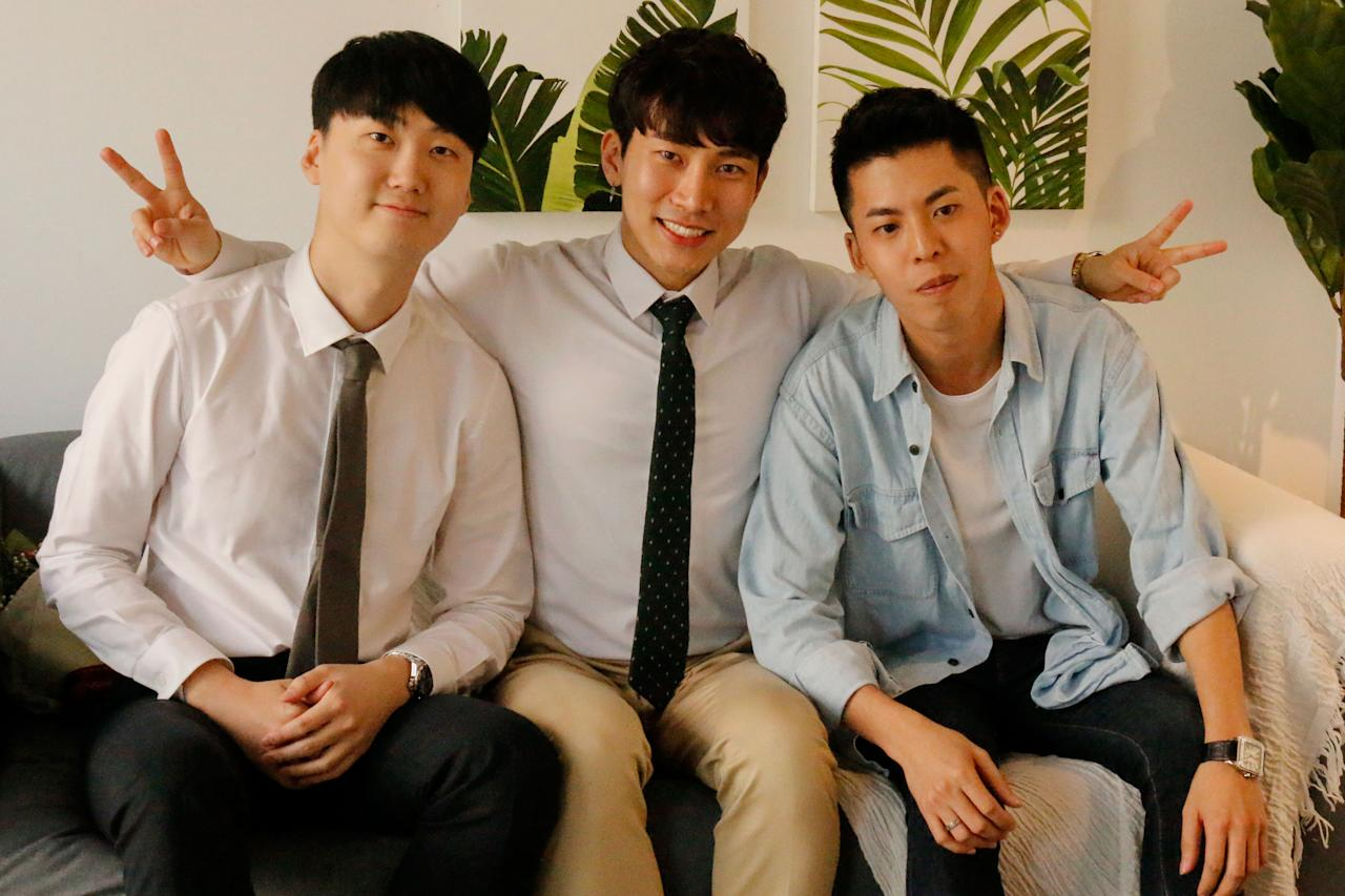 <p>(L-R) Kwak Keon-hee, Eun-kwang and Joey Tan are the owners of PLUSEIGHTTWO cafe (Photo: Yahoo Lifestyle Singapore)</p>