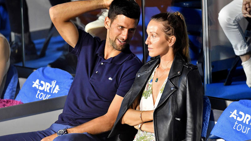 Novak Djokovic and wife Jelena, pictured here at the Adria Tour tennis event in Serbia.