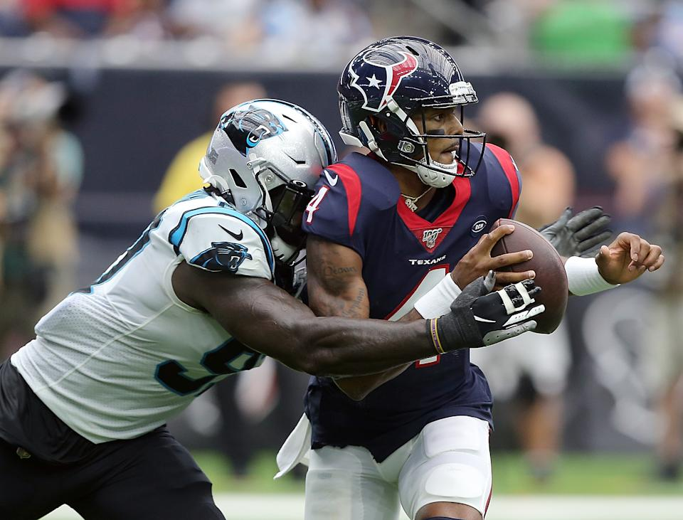 Houston Texans quarterback Deshaun Watson had a rough game in a loss to the Panthers. (Getty Images)