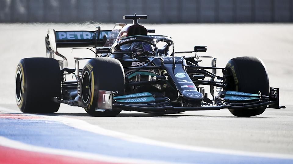 Lewis Hamilton, pictured here in action during practice for the Russian Grand Prix.