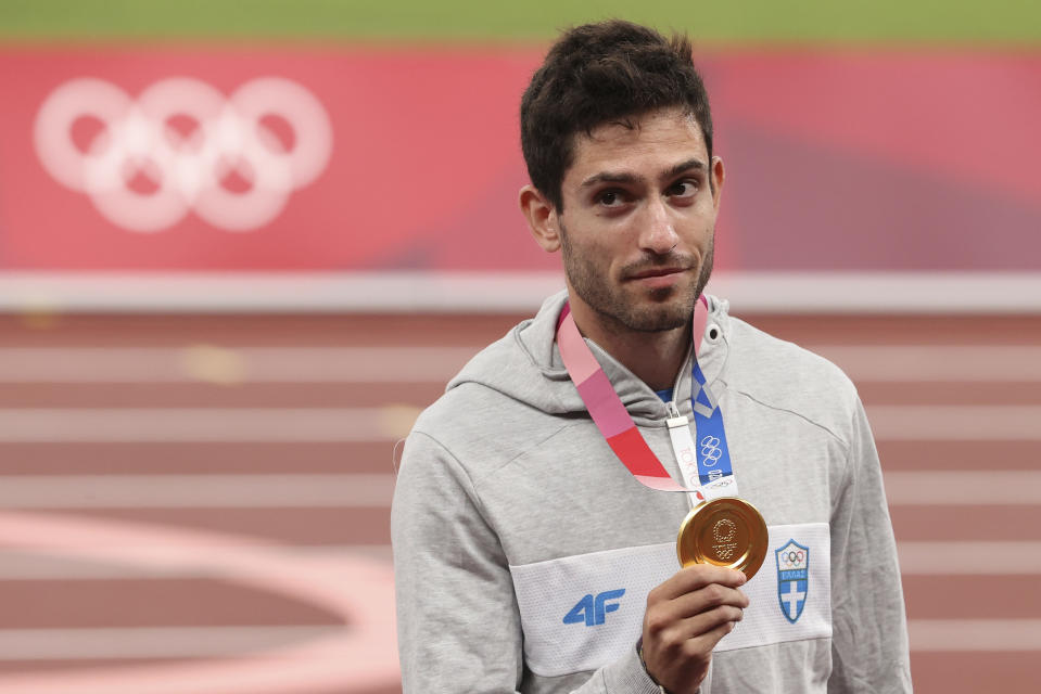 TOKYO, JAPAN - AUGUST 2: Gold Medalist Miltiadis Tentoglou of Greece during the medal ceremony of the Men's Long Jump on day ten of the athletics events of the Tokyo 2020 Olympic Games at Olympic Stadium on August 2, 2021 in Tokyo, Japan. (Photo by Jean Catuffe/Getty Images)