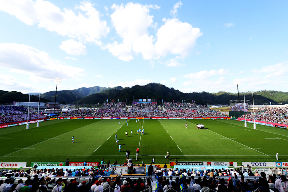 A Rugby World Cup is about action, but it's also about the rugby community coming together to celebrate the sport wherever it is played in the world. The small Kamaishi Recovery Memorial Stadium, set against stunning mountain scenery, was a fitting venue for an early upset, with Uruguay running out 30 - 27 winners against the fancied Fijians. Warren Little (World Rugby/World Rugby via Getty Images) captured the scene.