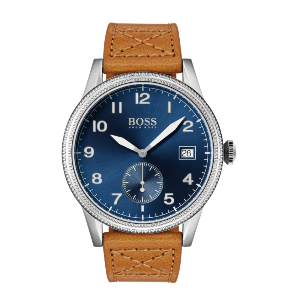 light brown leather watch strap with silver details and navy blue watch face