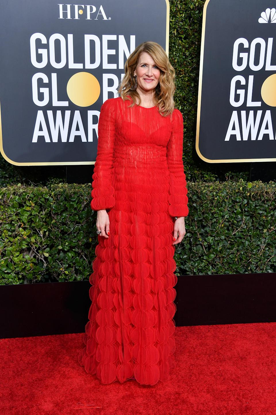 <p>The 51-year-old star looked elegant in a vibrant red look by Valentino.<br>Image via Getty Images. </p>
