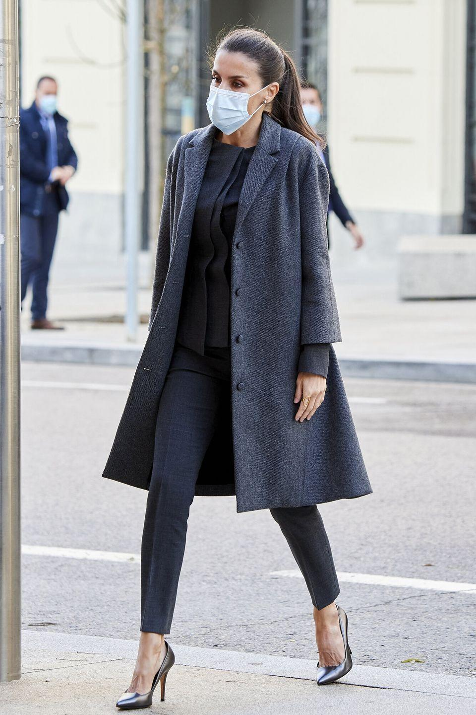 <p><strong>4 December </strong>Queen Letitia of Spain looked elegant in head-to-toe charcoal grey for an official engagement in Madrid. </p>