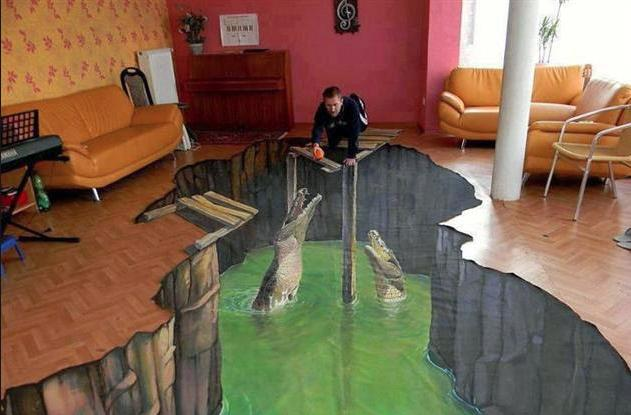 Step re-e-e-e-al carefully around this 3D floor mural.
