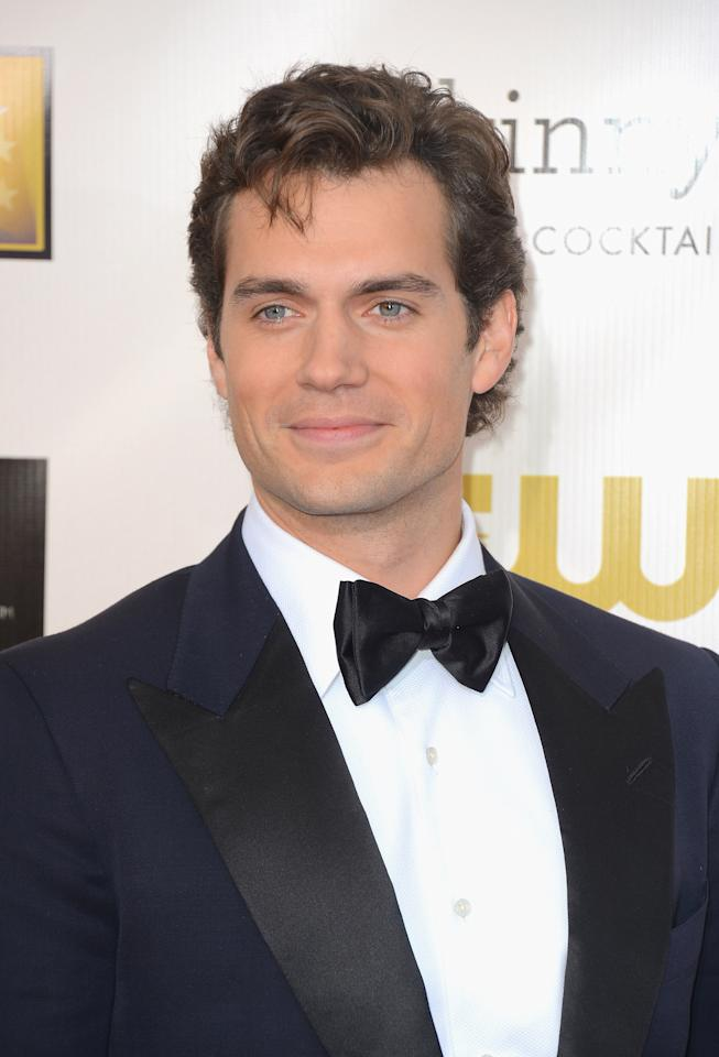 SANTA MONICA, CA - JANUARY 10:  Actor  Henry Cavill  arrives at the 18th Annual Critics' Choice Movie Awards at Barker Hangar on January 10, 2013 in Santa Monica, California.  (Photo by Frazer Harrison/Getty Images)