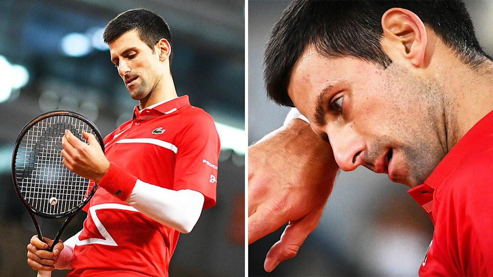 Novak Djokovic (pictured left) looking bemused and (pictured right) tired during the French Open final.
