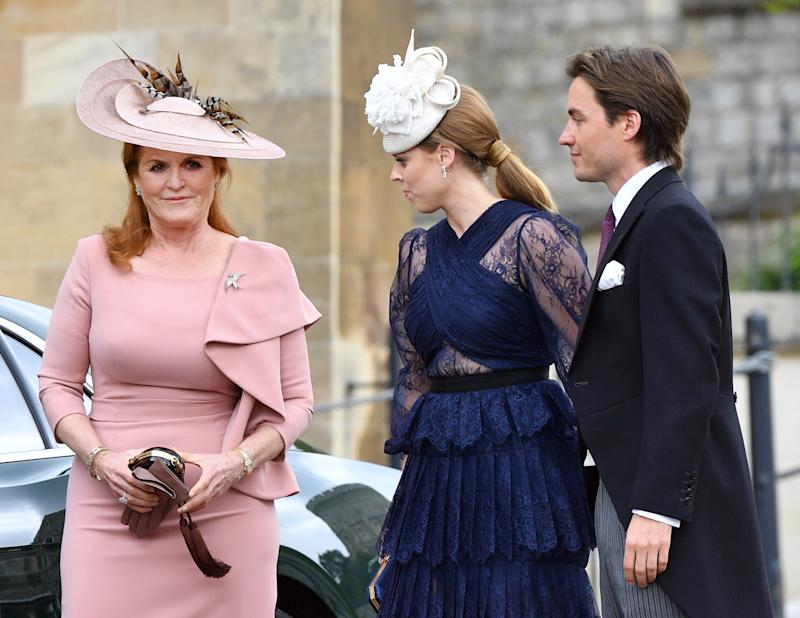 Sarah Ferguson, Duchess of York, Princess Beatrice and Edoardo Mapelli Mozzi attend the wedding of Lady Gabriella Windsor and Thomas Kingston at St George's Chapel on May 18, 2019 in Windsor, England.
