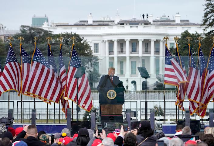 """Former President Donald Trump rallied supporters outside of the White House before directing them to """"fight"""" the certification of the 2020 election on 6 January  (AP)"""