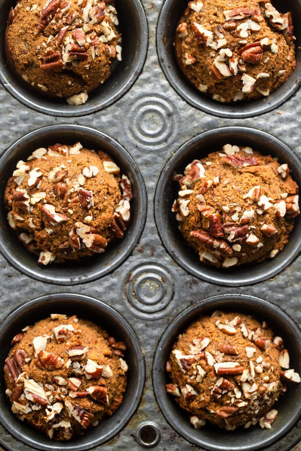"<p>With wholesome ingredients, these tasty pumpkin muffins offer the perfect balance between spicy (thanks to the pumpkin-pie spice) and sweet. They're moist, tender, and easy to nosh on! If you're feeding two people, we suggest making about four muffins just so you have some to enjoy the next day.</p> <p><strong>Get the recipe</strong>: <a href=""https://www.foodfaithfitness.com/whole30-pumpkin-muffins/?utm_source=feedburner&utm_medium=feed&utm_campaign=Feed%3A+foodfaithfitness%2FryFv+%28Food+Faith+Fitness%29"" class=""link rapid-noclick-resp"" rel=""nofollow noopener"" target=""_blank"" data-ylk=""slk:Whole30 pumpkin muffins"">Whole30 pumpkin muffins</a></p>"