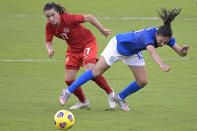 Canada midfielder Jessie Fleming (17) and Brazil midfielder Julia (13) collide while competing for a ball during the second half of a SheBelieves Cup women's soccer match, Wednesday, Feb. 24, 2021, in Orlando, Fla. (AP Photo/Phelan M. Ebenhack)