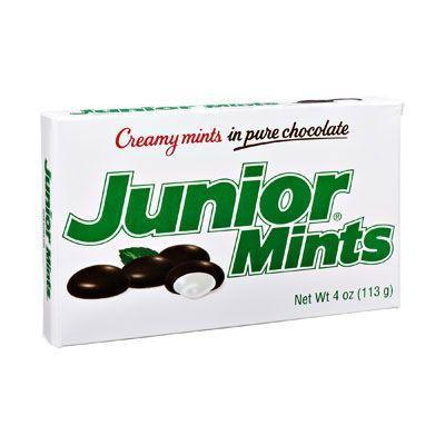 """<p><strong>Junior Mints</strong><br></p><p>With a creamy mint filling covered in a chocolate shell, Junior Mints were <a href=""""http://www.tootsie.com/candy/junior-mints/junior-mints"""" rel=""""nofollow noopener"""" target=""""_blank"""" data-ylk=""""slk:named after a popular Broadway show"""" class=""""link rapid-noclick-resp"""">named after a popular Broadway show</a>, Junior Miss, that was on stages in the 1940s. Today, over 15 million Junior Mints are produced each day in Cambridge, MA. </p>"""