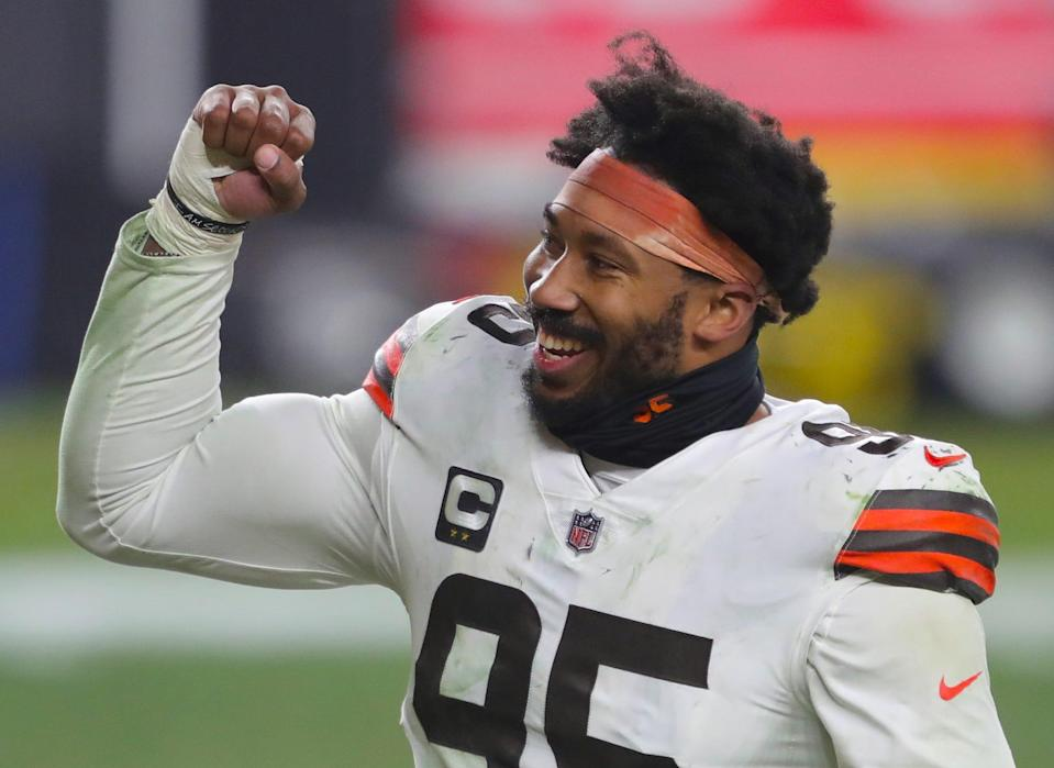 Cleveland Browns defensive end Myles Garrett pumps his fist after beating the Pittsburgh Steelers in the wild-card game.
