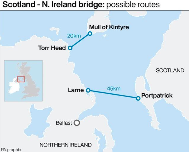 Possible routes for the bridge connecting Scotland to Northern Ireland. (PA)