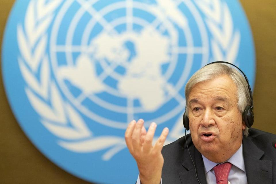 UN secretary-general Antonio Guterres talks to the media about the crisis in Afghanistan (EPA)