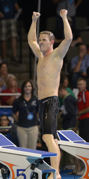 Scott Weltz celebrates after winning the men's 200-meter breaststroke final at the U.S. Olympic swimming trials, Thursday, June 28, 2012, in Omaha, Neb. (AP Photo/Mark J. Terrill)