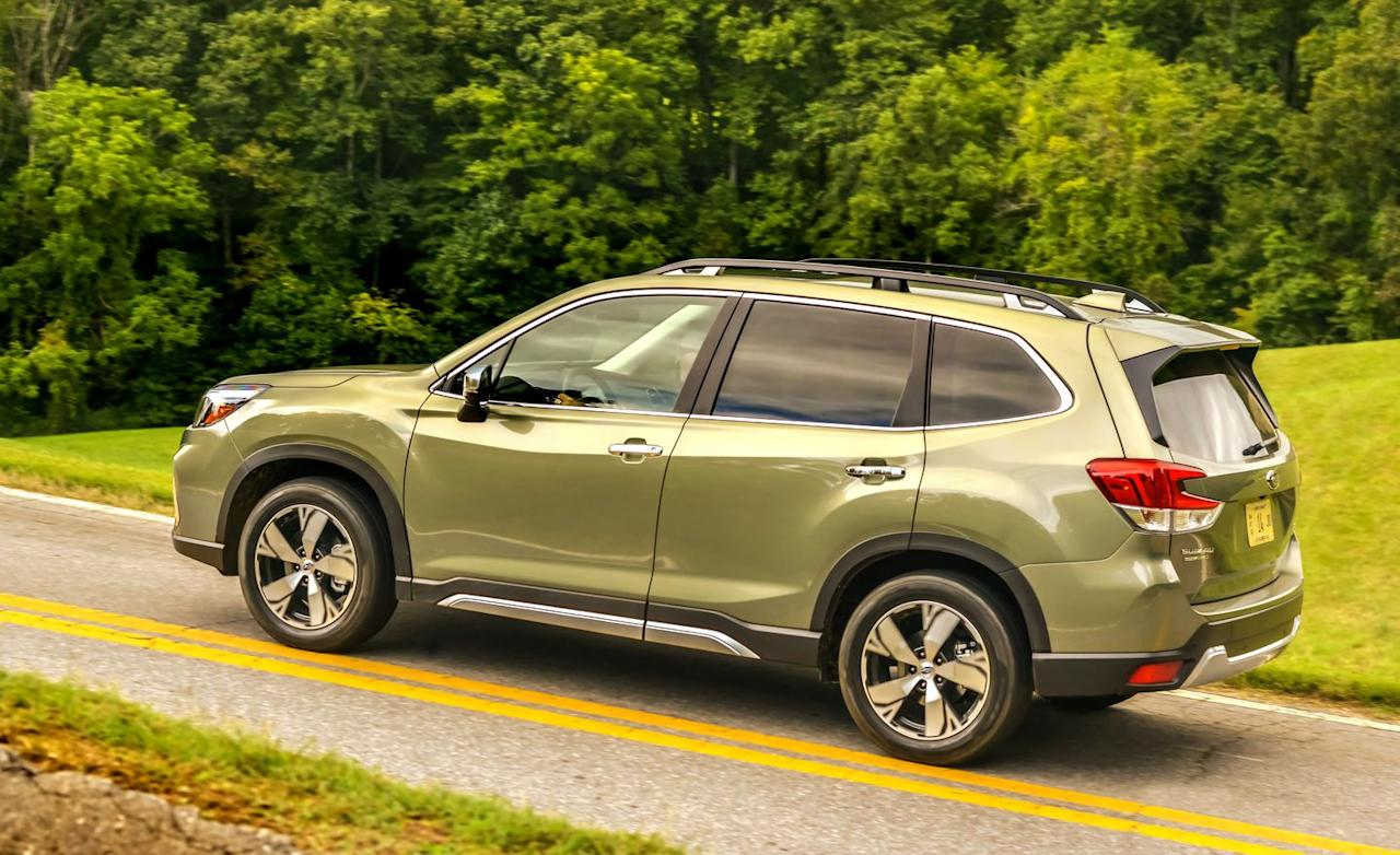 <p>Subaru says that practically every part that isn't a nut or bolt is new. The car rides on a stiffer platform, with new K-braces to gird the front suspension's pickup points.</p>