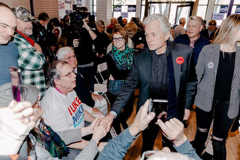 Michael Douglas (right) campaigning for Mike Bloomberg in Wisconsin on Saturday   Mike Bloomberg 2020