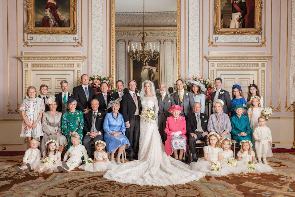 """<p>Ella Windsor's royal wedding was a highlight of the first half of 2019. Many members of the royal family, including Prince Harry, Prince Philip, and the Queen were in attendance. Here, one of <a href=""""https://www.townandcountrymag.com/society/tradition/a27540627/lady-gabriella-windsor-thomas-kingston-wedding-official-photos/"""" rel=""""nofollow noopener"""" target=""""_blank"""" data-ylk=""""slk:her official portraits, taken by photographer Hugo Burnand"""" class=""""link rapid-noclick-resp"""">her official portraits, taken by photographer Hugo Burnand</a>. </p>"""