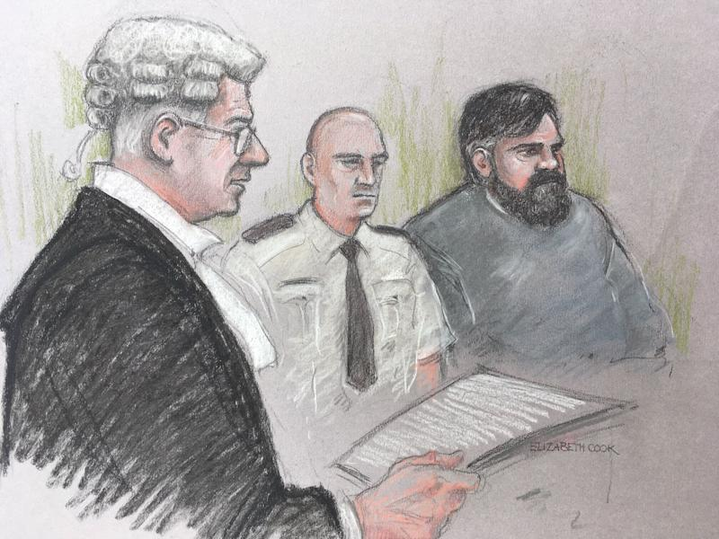 Court artist sketch by Elizabeth Cook of Carl Beech, known as Nick, looks on as Tony Badenoch QC for the prosecution at Newcastle Crown Court where he denies 12 counts of perverting the course of justice and one count of fraud.