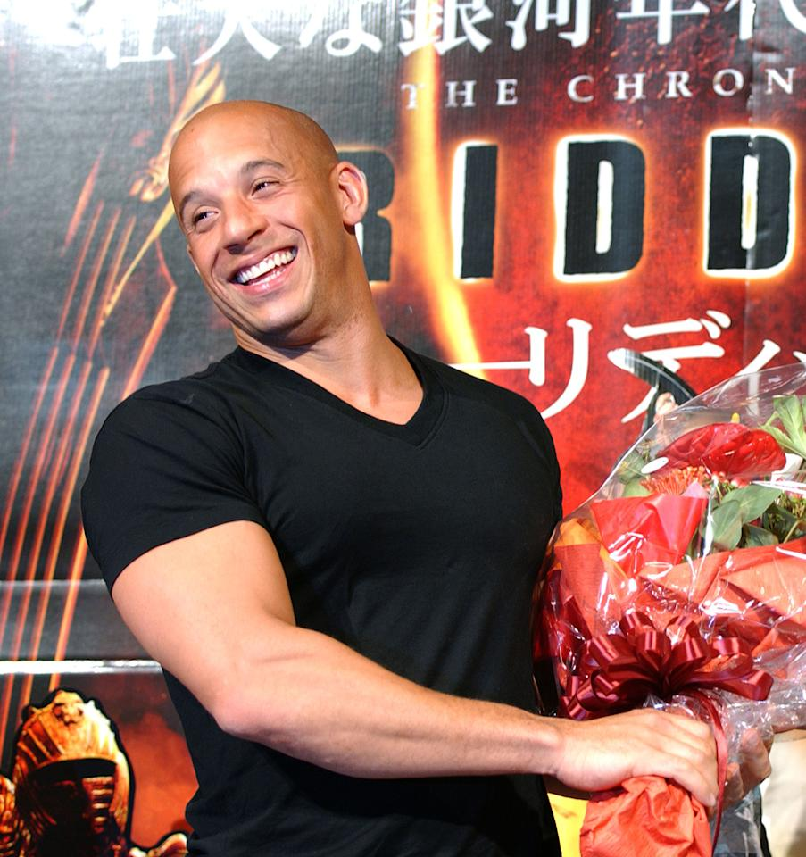 """<a href=""""http://movies.yahoo.com/movie/contributor/1800020716"""">Vin Diesel</a> at the Tokyo press conference for <a href=""""http://movies.yahoo.com/movie/1808405423/info"""">The Chronicles of Riddick</a> - 07/30/2004"""