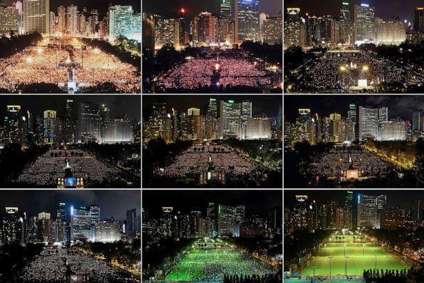 PHOTO: This combination of file photos taken on various dates from 1990 to 2021 shows activists attending a candlelit vigil at Victoria Park in Hong Kong to mark the 1989 Tiananmen Square crackdown in Beijing, and vigils being banned due to COVID-19. (AFP via Getty Images)