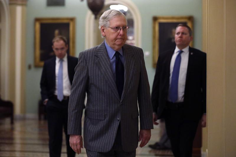 Senate Majority Leader Sen. Mitch McConnell (R-KY) arrives at the U.S. Capitol January 15, 2020 in Washington, DC. (Photo: Alex Wong/Getty Images)
