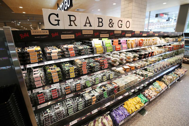 A general view of the Grab & Go section during the Coles Local St Kilda Store Opening.