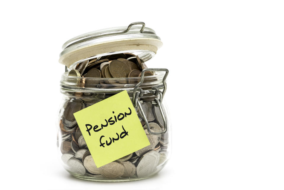 Jar full of coins being saved for a pension. Photo: Getty