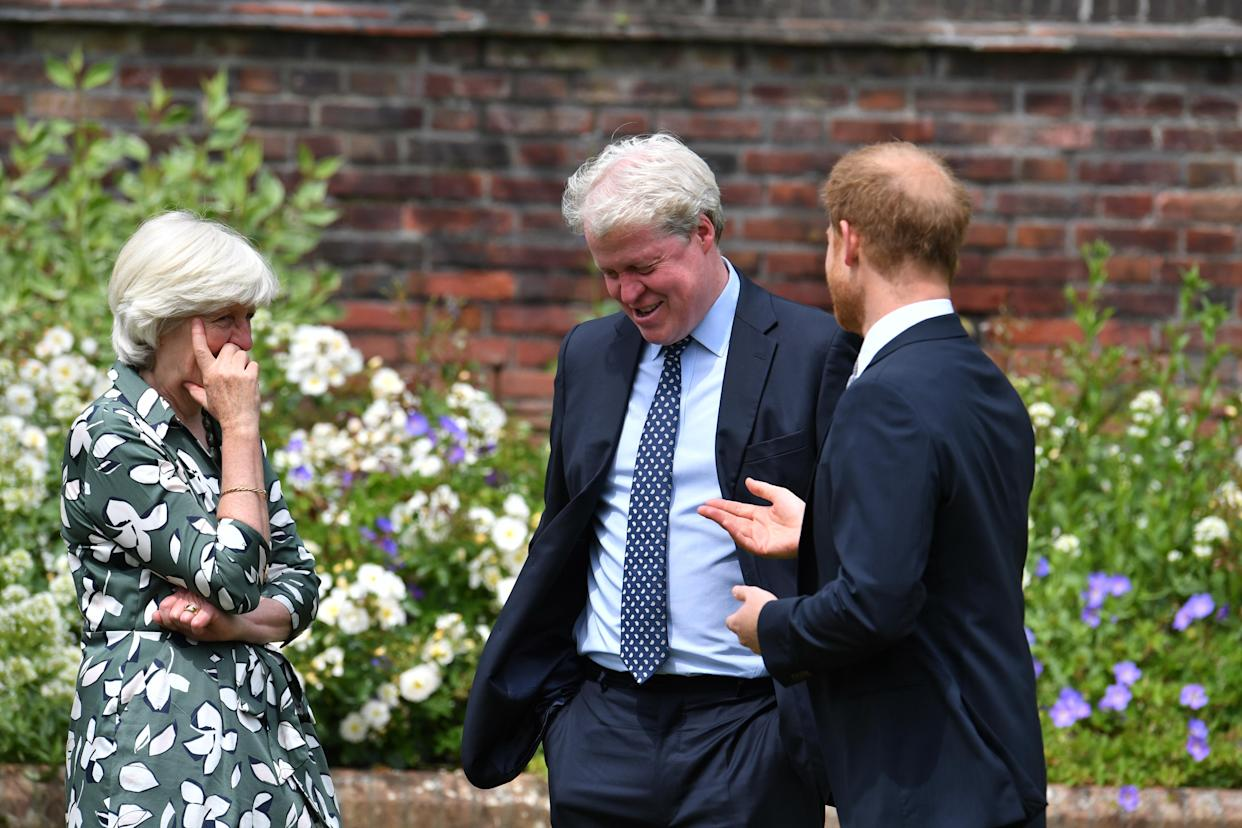Prince Harry with aunt Lady Jane Fellowes and uncle Earl Spencer. It's thought that he has not seen them in more than a year. (Photo: PA Images)