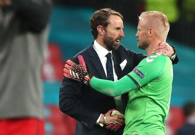 England manager Gareth Southgate shaking hands with Schmeichel after the match
