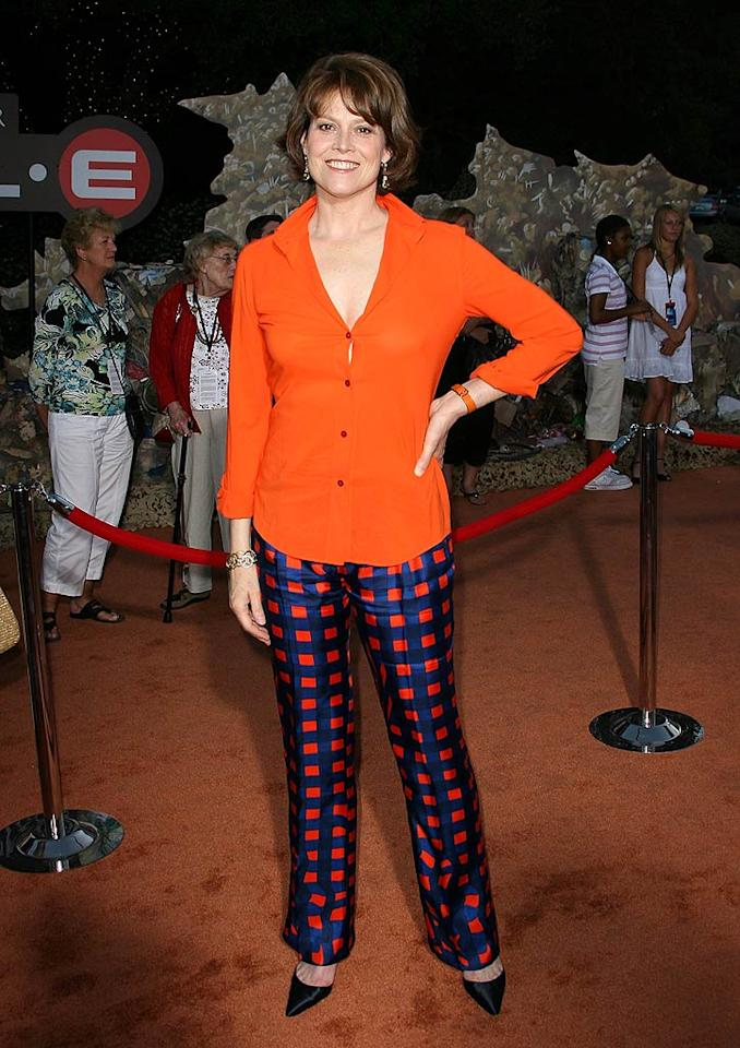 "Sigourney Weaver should have passed on these putrid patterned pants. Jordan Strauss/<a href=""http://www.wireimage.com"" target=""new"">WireImage.com</a> - June 21, 2008"