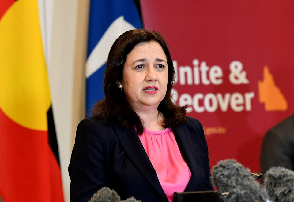 BRISBANE, AUSTRALIA - JUNE 30: Premier Annastacia Palaszczuk speaks at a press conference as she gives an update on Queensland COVID-19 Border Controls on June 30, 2020 in Brisbane, Australia. (Photo by Bradley Kanaris/Getty Images)