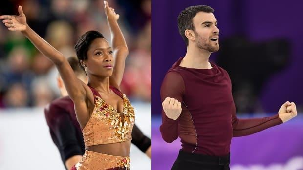 Vanessa James, left, and Eric Radford, right, made their international debut as a team at the Skate Canada Autumn Classic International in Montreal on Thursday. (Getty Images - image credit)