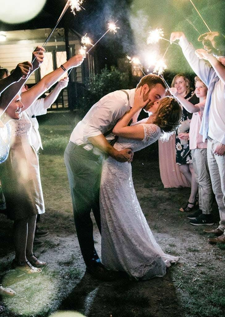 The couple danced as guests held sparklers (Danielle Riley Photography)
