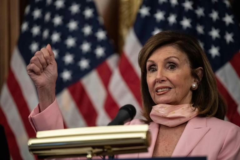 US House Speaker Nancy Pelosi had the portraits of four of her 19th century predecessors removed from the US Capitol walls because the men served in the Confederacy (AFP Photo/NICHOLAS KAMM)