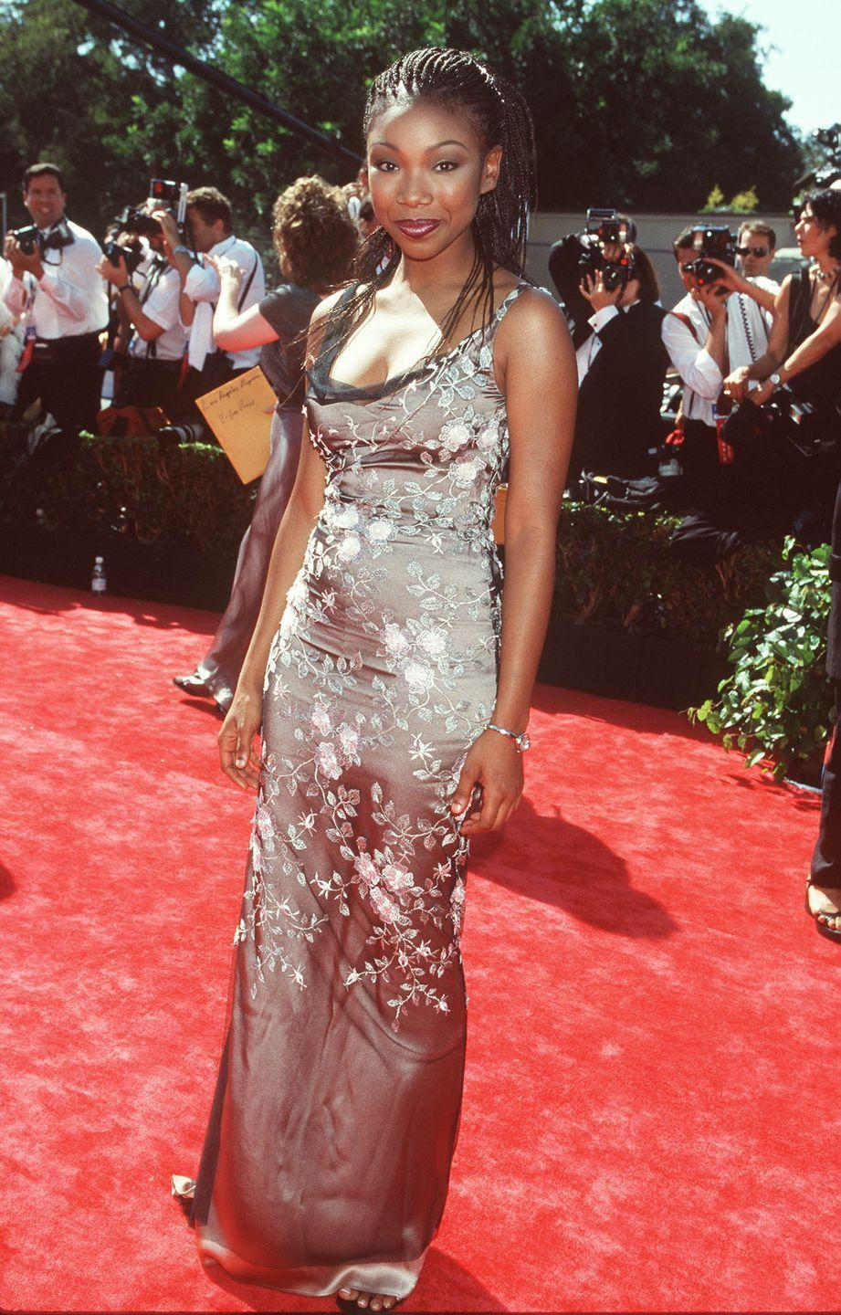<p>Brandy brought her floral game to the red carpet in this number with a cowl neckline. </p>