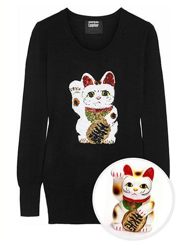 """<div class=""""caption-credit""""> Photo by: net-a-porter</div><b>Maneki Neko</b> <br> We all need a little luck in life and Markus Lupfer couldn't agree more. Plucking the Maneki Neko-Lucky Cat-directly from Japan and embroidering the charming talisman in sequins onto a noir wool sweater could bring us all some much needed good fortune. Markus Lupfer Lucky Cat Sequined Merino Wool Sweater, $440; <a href=""""http://www.net-a-porter.com/product/401294"""" rel=""""nofollow noopener"""" target=""""_blank"""" data-ylk=""""slk:net-a-porter.com"""" class=""""link rapid-noclick-resp"""">net-a-porter.com</a>. <br> <b><br> <a href=""""http://www.marieclaire.com/sex-love/advice/tips/men-dating-secrets?link=rel&dom=yah_life&src=syn&con=blog_marieclaire&mag=mar"""" rel=""""nofollow noopener"""" target=""""_blank"""" data-ylk=""""slk:Related: 20 Secrets Men NEVER Tell Women"""" class=""""link rapid-noclick-resp"""">Related: 20 Secrets Men NEVER Tell Women</a> <br> <a href=""""http://www.marieclaire.com/health-fitness/foods-that-pack-on-pounds?link=rel&dom=yah_life&src=syn&con=blog_marieclaire&mag=mar"""" rel=""""nofollow noopener"""" target=""""_blank"""" data-ylk=""""slk:Related: 10 Surprising Foods that Pack on the Pounds"""" class=""""link rapid-noclick-resp"""">Related: 10 Surprising Foods that Pack on the Pounds</a></b>"""