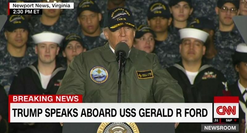 Mr Trump vowed to expand spending on the navy (YouTube)