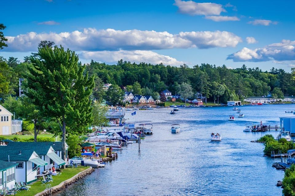 boats on a lake in New Hampshire