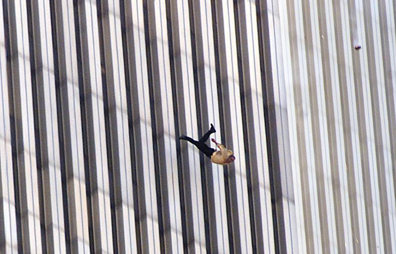The iconic 'falling man' photograph captures the moment an unidentified man falls from the north tower of New York's World Trade Center on September 11, 2001.