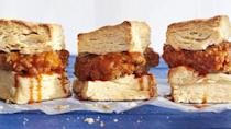 """<p>Crispy, spicy fried chicken on flakey biscuits — What could be a better way to kick off the new year? </p><p><strong><a href=""""https://www.countryliving.com/food-drinks/recipes/a41656/mile-high-breakfast-chicken-biscuit-sandwiches-recipe/"""" rel=""""nofollow noopener"""" target=""""_blank"""" data-ylk=""""slk:Get the recipe"""" class=""""link rapid-noclick-resp"""">Get the recipe</a>.</strong></p><p> <a class=""""link rapid-noclick-resp"""" href=""""https://www.amazon.com/Bakers-Secret-1061483-16-Inch-Nonstick/dp/B00091PNTI?tag=syn-yahoo-20&ascsubtag=%5Bartid%7C10050.g.34822192%5Bsrc%7Cyahoo-us"""" rel=""""nofollow noopener"""" target=""""_blank"""" data-ylk=""""slk:SHOP COOLING RACKS"""">SHOP COOLING RACKS</a><br></p>"""