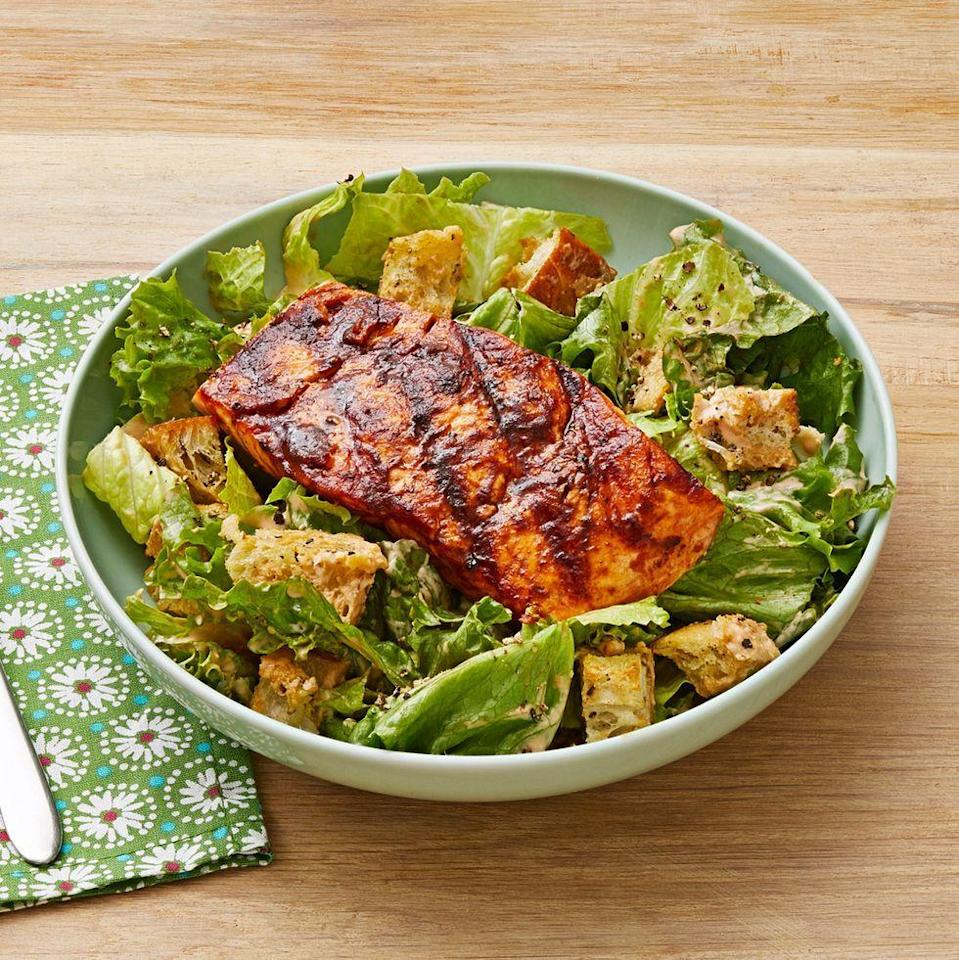"""<p>In the heat of the summer, we like recipes that keep things light, like this Caesar salad recipe. Top it off with grilled chipotle salmon for a healthy and flavorful Father's Day dinner. </p><p><a href=""""https://www.thepioneerwoman.com/food-cooking/recipes/a35980536/chipotle-caesar-salad-with-grilled-salmon-recipe/"""" rel=""""nofollow noopener"""" target=""""_blank"""" data-ylk=""""slk:Get Ree's recipe."""" class=""""link rapid-noclick-resp""""><strong>Get Ree's recipe.</strong></a></p><p><a class=""""link rapid-noclick-resp"""" href=""""https://go.redirectingat.com?id=74968X1596630&url=https%3A%2F%2Fwww.walmart.com%2Fsearch%2F%3Fquery%3Dpioneer%2Bwoman%2Bserving%2Bbowls&sref=https%3A%2F%2Fwww.thepioneerwoman.com%2Ffood-cooking%2Fmeals-menus%2Fg36109352%2Ffathers-day-dinner-recipes%2F"""" rel=""""nofollow noopener"""" target=""""_blank"""" data-ylk=""""slk:SHOP SERVING BOWLS"""">SHOP SERVING BOWLS</a></p>"""