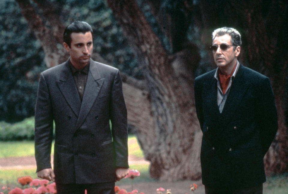 Cuban-American actor Andy Garcia and American actor Al Pacino on the set of The Godfather: Part III, written and directed by Francis Ford Coppola. (Photo by Paramount Pictures/Sunset Boulevard/Corbis via Getty Images)