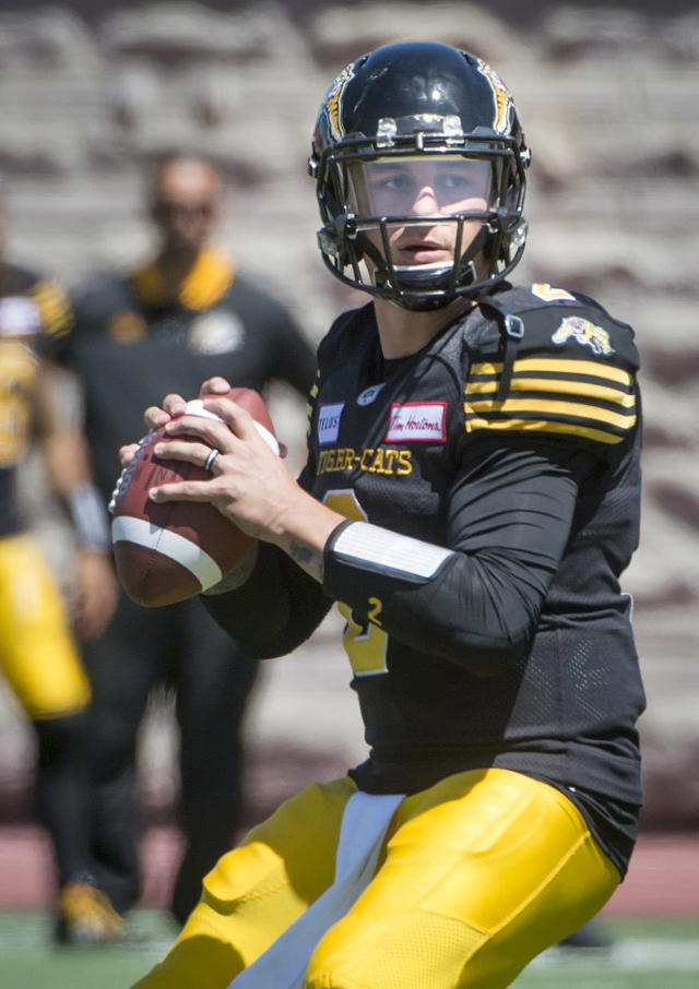 Hamilton Tiger-Cats quarterback Johnny Manziel looks for an open receiver during the second half of a preseason CFL football game against the Montreal Alouettes in Montreal on Saturday, June 9, 2018. (Peter McCabe/The Canadian Press via AP)