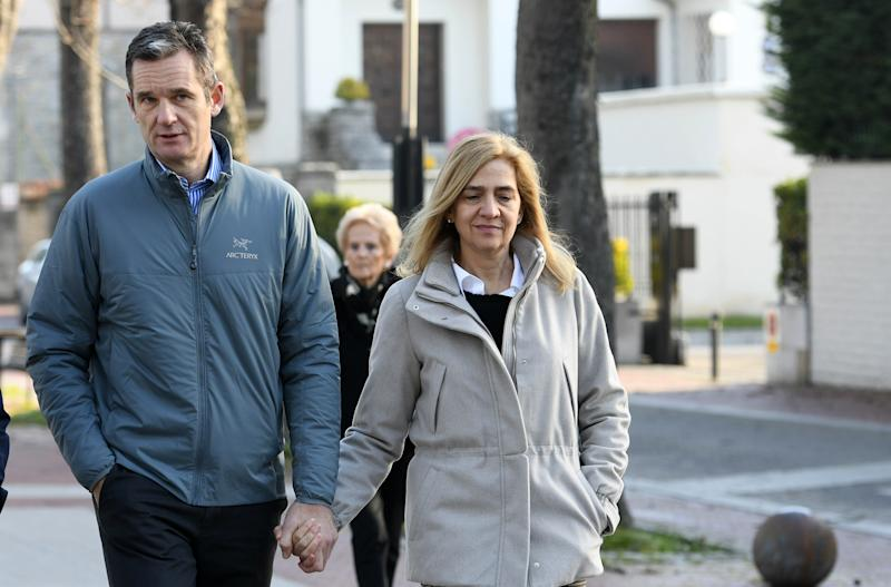 VITORIA-GASTEIZ, SPAIN - DECEMBER 25: Iñaki Urdangarin and the Princess Cristina of Spain are seen in Vitoria on Christmas Day (Photo by Europa Press Entertainment/Europa Press via Getty Images)