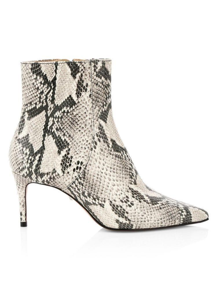 """<p><strong>Schutz</strong></p><p>saksfifthavenue.com</p><p><strong>$168.75</strong></p><p><a href=""""https://go.redirectingat.com?id=74968X1596630&url=https%3A%2F%2Fwww.saksfifthavenue.com%2Fschutz-bette-snakeskin-embossed-leather-ankle-boots%2Fproduct%2F0400010762410&sref=https%3A%2F%2Fwww.harpersbazaar.com%2Ffashion%2Ftrends%2Fg31902874%2Fsaks-spring-2020-sale%2F"""" rel=""""nofollow noopener"""" target=""""_blank"""" data-ylk=""""slk:Shop Now"""" class=""""link rapid-noclick-resp"""">Shop Now</a></p><p>A snake print bootie is a year-round must.</p>"""