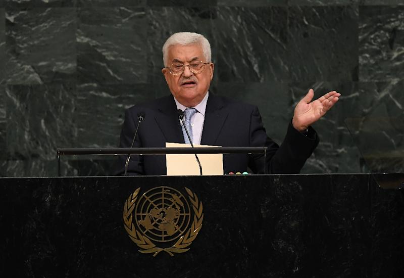 Palestinian leader Mahmoud Abbas, in a speech to the UN General Assembly, slams Israel's construction of new settlements in the West Bank and east Jerusalem (AFP Photo/ANGELA WEISS)